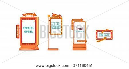 Shopping Sale Vintage Vector Ads Board Sign Illustrations Set. Commercial Billboard Mockup Designs P