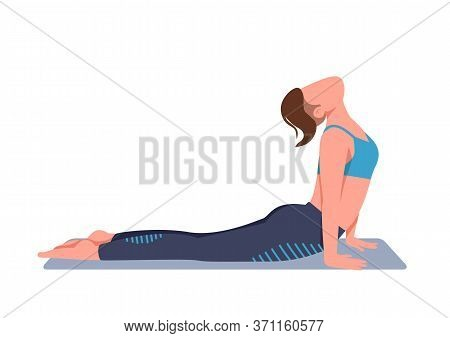 Woman Doing Yoga At Home Flat Color Vector Faceless Character. Sportswoman In Cobra Pose Isolated Ca