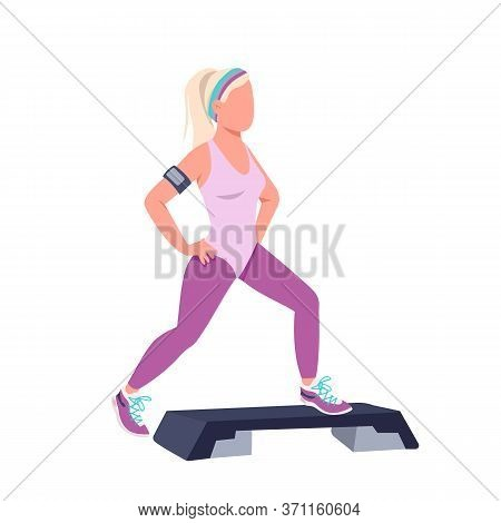 Woman Doing Step Ups Flat Color Vector Faceless Character. Sportswoman, Fitness Instructor Training