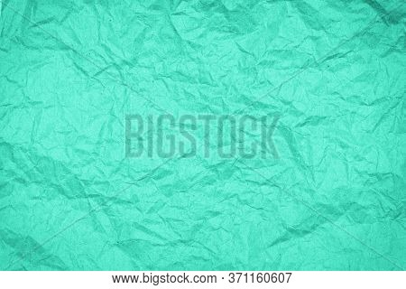 Abstract Packaging Craft Wrinkled Paper Texture, Background, Toned In Trendy Color Of 2020 Biscay Gr