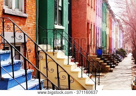 Close Up Of Many Color Staircase Of Typical Albany Houses On Lancaster Street, Ny, Usa