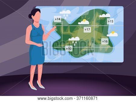 Weather Forecast Flat Color Vector Illustration. Female Weather Presenter, Professional Broadcaster