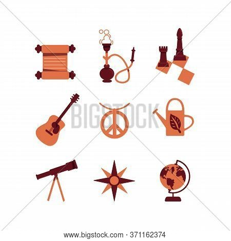 Education And Hobby Flat Color Vector Objects Set. Scroll And Chess Wisdom Symbols. Telescope And Gl