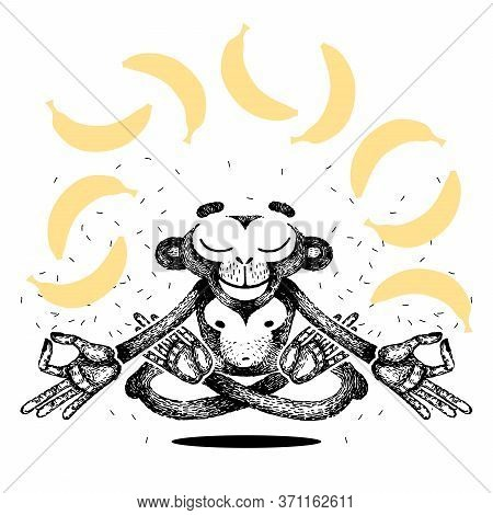 Monkey Is Meditating And Levitating. Monkey Sits In A Lotus Position And Dreams Of Bananas. Vector H