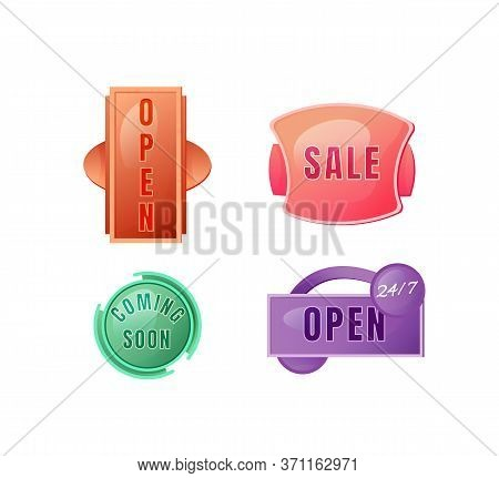 Store Vector Board Sign Illustrations Set. Shop Signboard Designs Pack With Typography. Opened 24 Ho