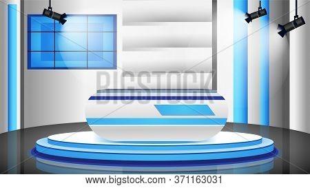 Empty News Studio Flat Color Vector Illustration. Professional News Channel Room 2d Cartoon Interior