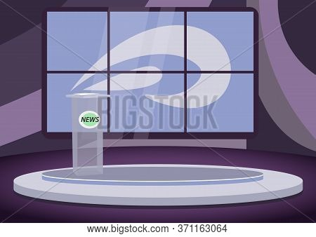 Empty News Stage Flat Color Vector Illustration. Newscast Room, Tv Studio 2d Cartoon Interior With S