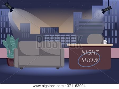 Empty Chat Show Studio Flat Color Vector Illustration. Evening Talk Show Shooting Stage 2d Cartoon I