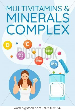 Multivitamins And Minerals Complex Poster Flat Vector Template. Food Additives. Vitamin C, D, A. Bro