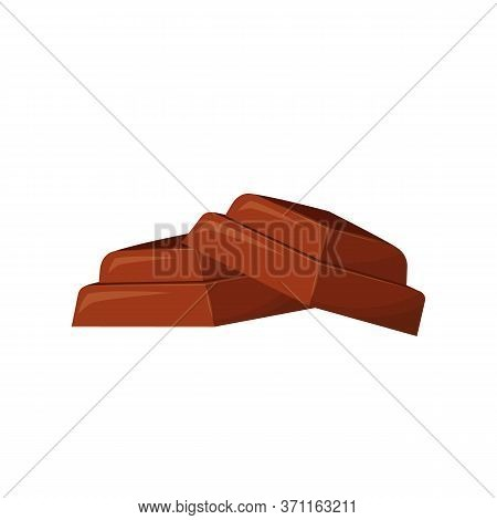 Chocolate Pieces Cartoon Vector Illustration. Crumpled Cacao Sweets Flat Color Object. Dessert. Cand