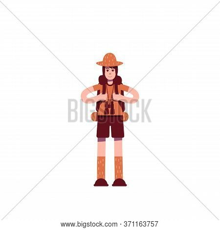 Explorer With Backpack Flat Color Vector Character. Young Boyscout. Backpacking Travel. Scientific E