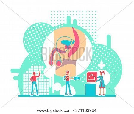 Male Reproductive System Health Flat Concept Vector Illustration. Std Prevention Campaign 2d Cartoon