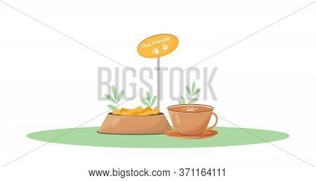Pet Friendly Coffee Shop Cartoon Vector Illustration. Domestic Animal Allowed In Cafe. Dog Entry Wel