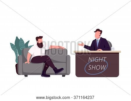 Talk Show Host And Guest Flat Color Vector Faceless Characters. Chat Show, Live Interview Isolated C