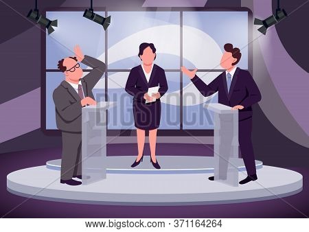 Television Debate Flat Color Vector Illustration. Political Talk Show Host And Speakers 2d Cartoon C