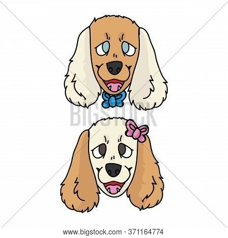 Cute Cartoon Cocker Spaniel Puppy Face Boy And Girl Vector Clipart. Pedigree Kennel Dog Lovers. Pure