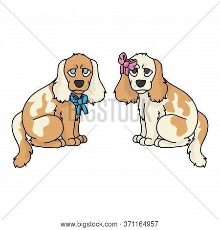 Cute Cartoon Cocker Spaniel Puppy Boy And Girl Vector Clipart. Pedigree Kennel Dog Lovers. Purebred