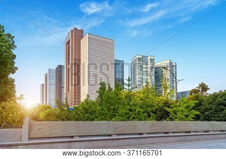 Modern Buildings And City Skyline In Hangzhou, China