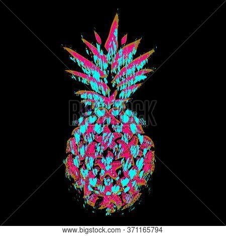 Pineapple.vector Design For A T-shirt With Glitchy Pineapple In The Grunge Style. Global Swatches. A