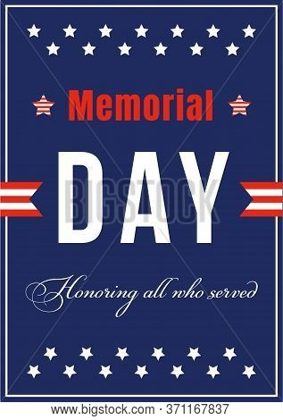 National American Memorial Day Poster Flat Vector Template. Celebration For War Anniversary. Us Free