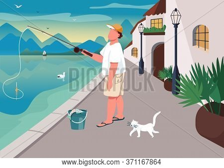 Man Fishing At Waterfront Area Flat Color Vector Illustration. Summer Time Leisure. Guy Angling On S