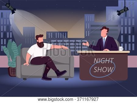 Evening Talk Show Flat Color Vector Illustration. Chat Show Host And Famous Guest 2d Cartoon Charact