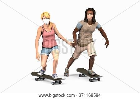 White Woman And Black Man In Dreadlocks Are Riding Skateboards In Protective Masks Holding Hands. Is