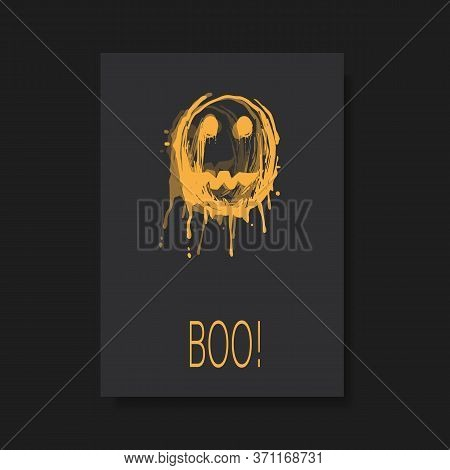 Happy Halloween Card Or Flyer Template With Creepy Face - Vector Illustration