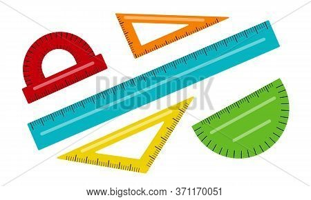 Vector Illustration Of Rulers Set Isolated On White Background. Stationery For Drawing. School Relat
