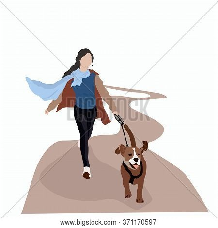 Vector Stock Illustration Of A Woman With A Dog. Walk In The Park On A Leash With A Pet. Girl On A M