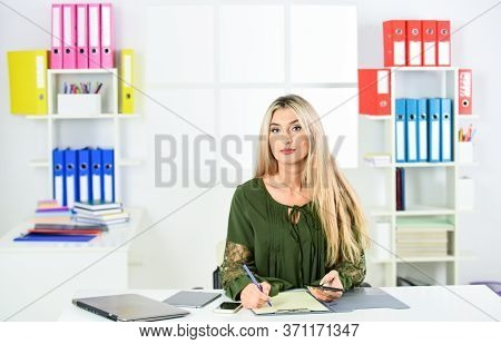 Accounting Is Our Skill. Woman In Office Wear With Office Folder. Beautiful Business Woman Calculate