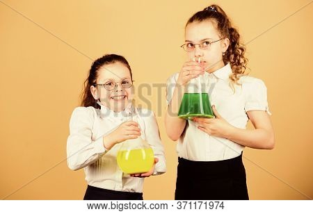 Knowledge And Education. Back To School. Children Study At Biology Lesson. Little Smart Girls With T