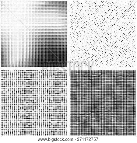 Halftone Pattern. Set Of Dots. Dotted Texture On White Background. Overlay Grunge Template. Distress