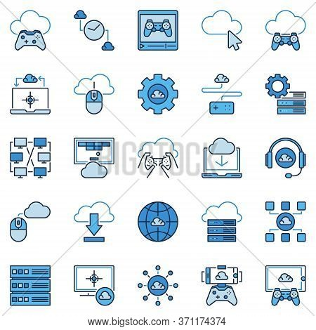 Cloud Gaming Colored Icons. Vector Playing Games Remotely From A Cloud Creative Signs. Online Video