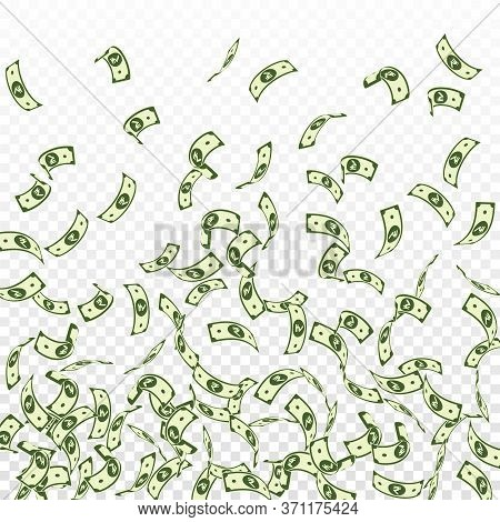 Indian Rupee Notes Falling. Sparse Inr Bills On Transparent Background. India Money. Brilliant Vecto