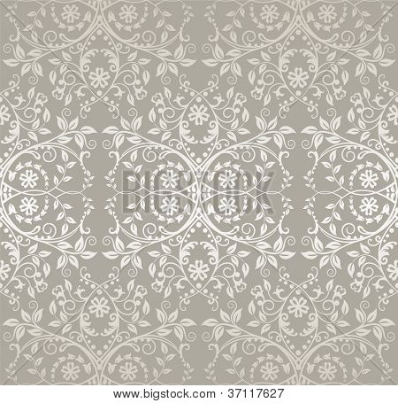 Seamless silver lace flowers and leaves foliage wallpaper pattern