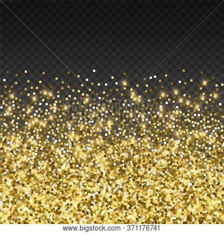 Sparkling Gold Luxury Sparkling Confetti. Scattered Small Gold Particles On Trasparent Background. A