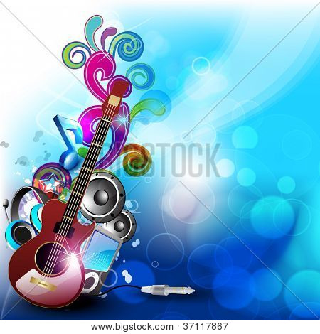 Colorful abstract speakers background with guitar. EPS 10. poster
