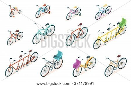 Set Of Isolated Bicycle For Ride. Triple Bike And Tricycle For Kid Or Child. Adult And Children Whee