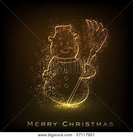 Merry Christmas greeting card or background with shiny snow man image. EPS 10. poster