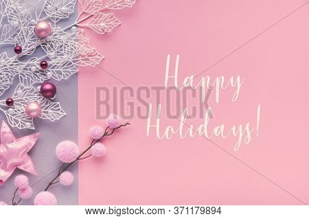 Romantic Christmas Flat Lay, Top View On Two Color Paper Background With Lettering Bouncy Text Happy