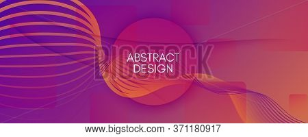 Abstract Fluid Background. 3d Geometric Liquid. Flow Shapes Poster. Purple Abstract Fluid Background