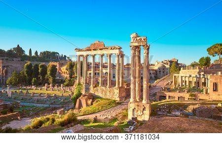 Empty Rome At Dawn. Panoramic Image Of Roman Forum, Or Foro Di Cesare, Or Forum Of Caesar, In Rome,