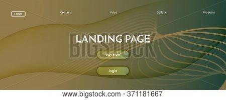 Camouflage Landing Page Design. 3d Flow Shape Texture. Wave Digital Movement. Brown Dynamic Magazine