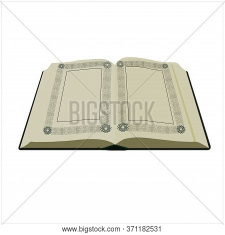 Vector Stock Illustration Of An Old Open Book. Template Of A Book With Open Blank Pages With Pattern