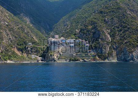 View From The Sea To The Mount Athos, Holy Mountain, Halkidiki, Greece.