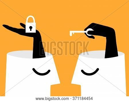 Mental Health, Illness ,brain Development ,medical Treatment  Concept, Hands Show Lock And Key To Un