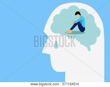 Mental Health, Illness ,brain Development ,medical Treatment  Concept, Sad And Unhappy Man Sitting I