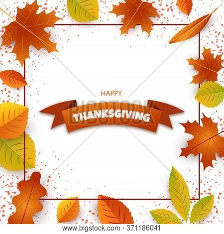 Thanksgiving Card. Happy Thanksgiving Day Celebrations Greeting Card Design With Hanging Maple Leave