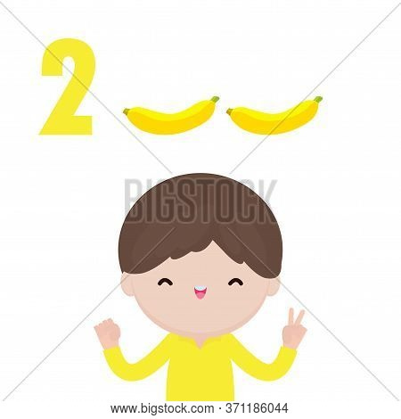 Happy Children Hand Showing The Number Two, Cute Kids Showing Numbers 2 By Fingers. Little Child Stu